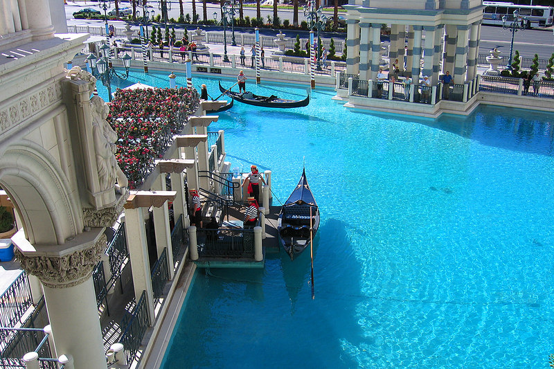The Venetian offers both indoor and outdoor gondola rides.