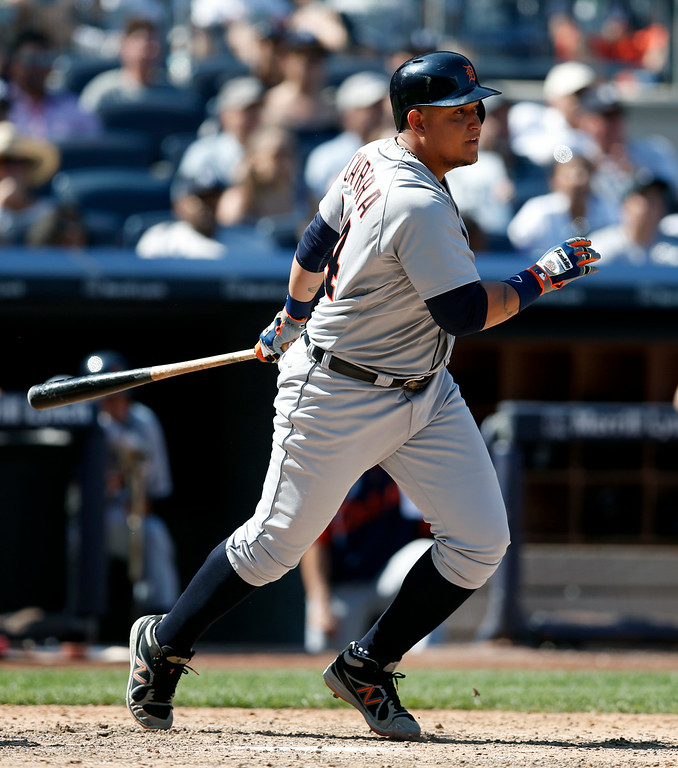 . Detroit Tigers pinch hitter Miguel Cabrera hits into a ninth-inning double play in a baseball game at Yankee Stadium in New York, Thursday, Aug. 7, 2014.  The Yankees defeated the Tigers 1-0. (AP Photo/Kathy Willens)