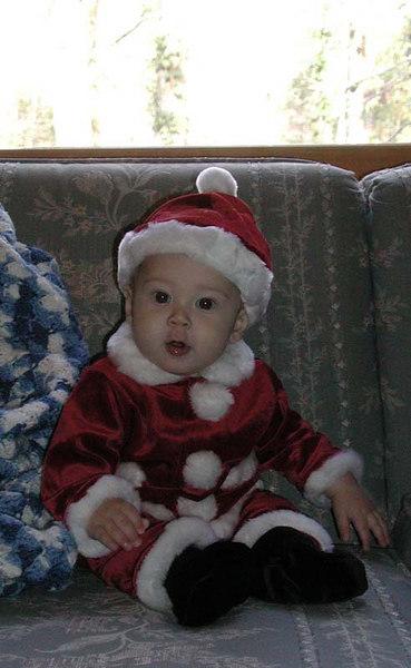 Christian in Santa suit.