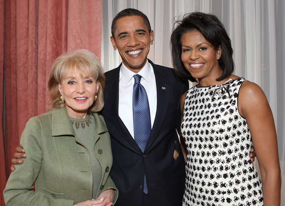 . In this photo provided by ABC News, Barbara Walters, left, poses with President elect Barack Obama and his wife Michelle for an ABC News special airing Wednesday, Nov. 26, 2008 on the ABC Television Network. (AP Photo/ABC NEWS, George Burns)