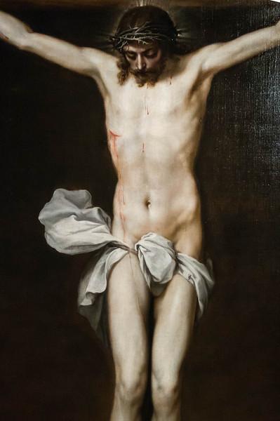 Alonso Cano: Christus am Kreuz, Detail [um 1640,  Academia de Bellas Artes, Madrid]