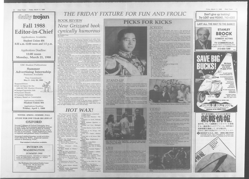 Daily Trojan, Vol. 106, No. 42, March 11, 1988