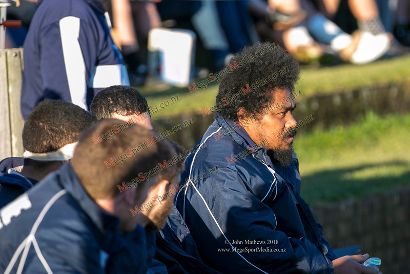 Petone supporters at the Wellington Premier  rugby union match (Swindale Shield) between Old Boys University RFC (white) and Petone (blue) at Nairnville Park, Wellington, New Zealand on 2 June 2018. SCORE: Petone 5, OBU 19 Copyright John Mathews 2018 www.megasportmedia.co.nz