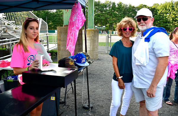 8/1/2019 Mike Orazzi | Staff Olivia Kilbourne with Cathy Valente and Dave Delohery during Pink Night at the Bristol Blues at Muzzy Field on Thursday evening.