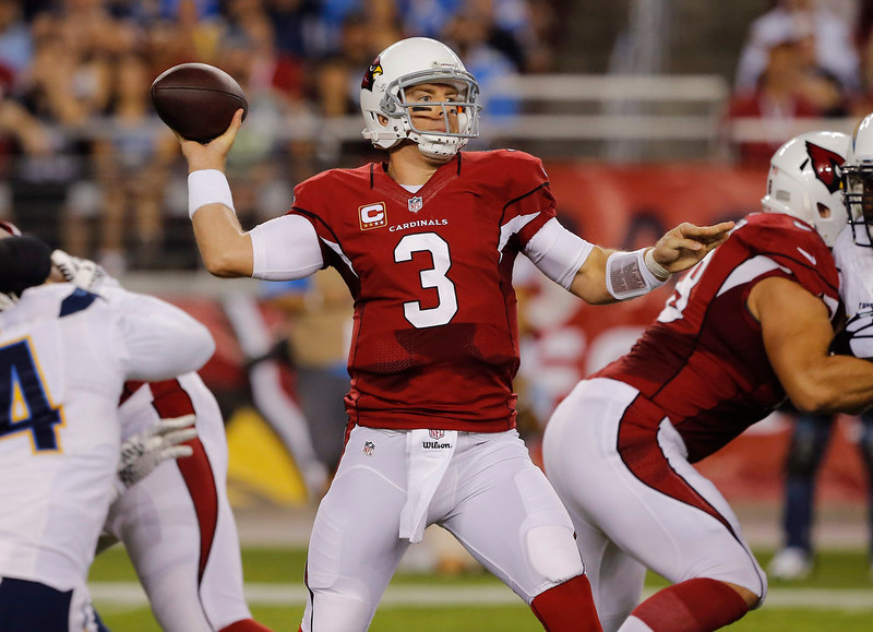 . Arizona Cardinals quarterback Carson Palmer (3) looks to throw against the San Diego Chargers during the first half of an NFL football game, Monday, Sept. 8, 2014, in Glendale, Ariz. (AP Photo/Rick Scuteri)