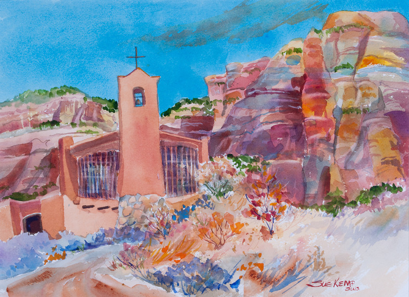 Monastery of Christ in the Desert<br /> by Sue Kemp<br /> watercolor