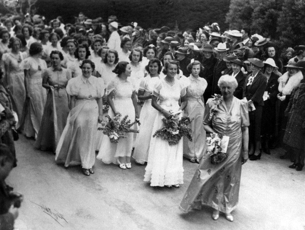 . Mary Wilson, who was Head of school from 1909 to 1938, leads the parade of graduates in June of 1938. (Head Royce School Archives)
