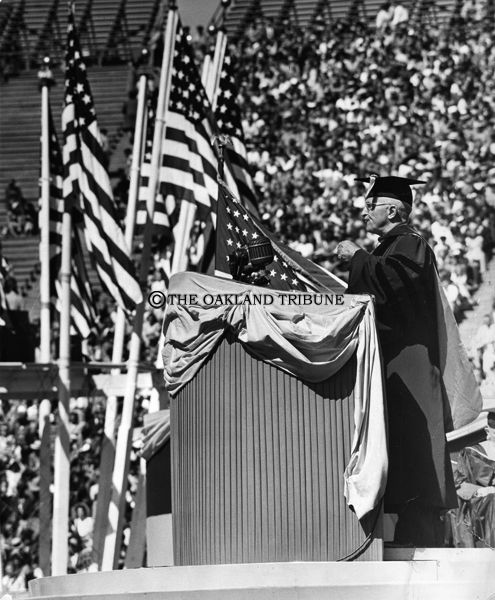 . Berkeley, CA June 12, 1948 - President Truman speaks to the graduating class of the University of California, at Berkeley in Memorial Stadium. (Jim Edelen / Oakland Tribune Staff Archives)