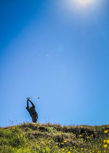 Hlynur Bergsson, GKG, á 2. teig á Garðavelli.  Mynd/seth@golf.is