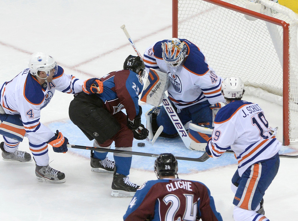 . DENVER, CO. - DECEMBER 19: Colorado center Maxime Talbot put the puck between the legs of Edmonton goalie Devan Dubnyk in the second period. The Colorado Avalanche hosted the Edmonton Oilers in an NHL game at the Pepsi Center Thursday night, December 19, 2013.  Photo By Karl Gehring/The Denver Post