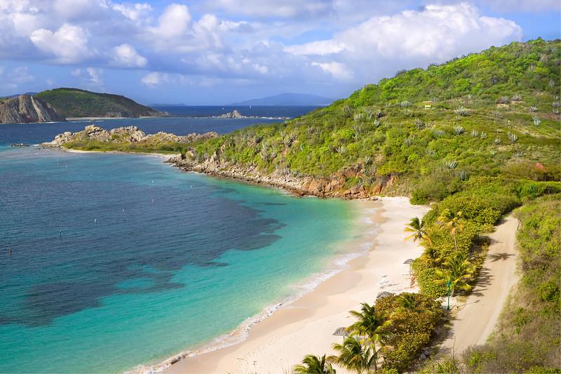 Beautiful view of tropical shoreline in the British Virgin Islands.