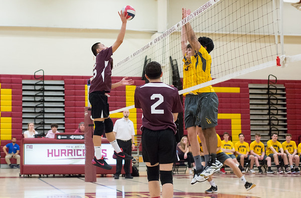 04/22/19 Wesley Bunnell | Staff New Britain volleyball was defeated by South Windsor at home on Monday evening. Randy Slart (5).