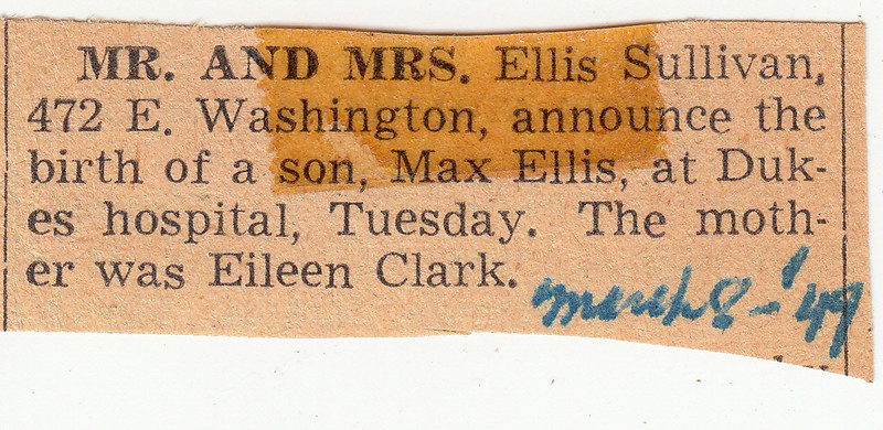 Newspaper Clipping - Birth Announcment for Max Sullivan - March 8, 1949.jpg