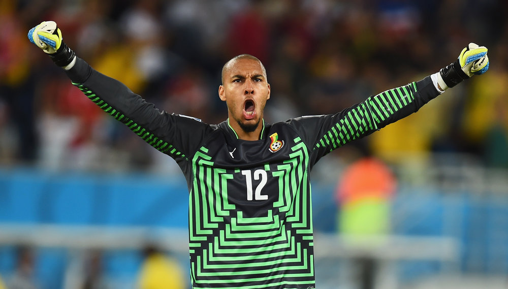 Description of . NATAL, BRAZIL - JUNE 16:  Adam Kwarasey of Ghana celebrates his team's first goal during the 2014 FIFA World Cup Brazil Group G match between Ghana and the United States at Estadio das Dunas on June 16, 2014 in Natal, Brazil.  (Photo by Jamie McDonald/Getty Images)