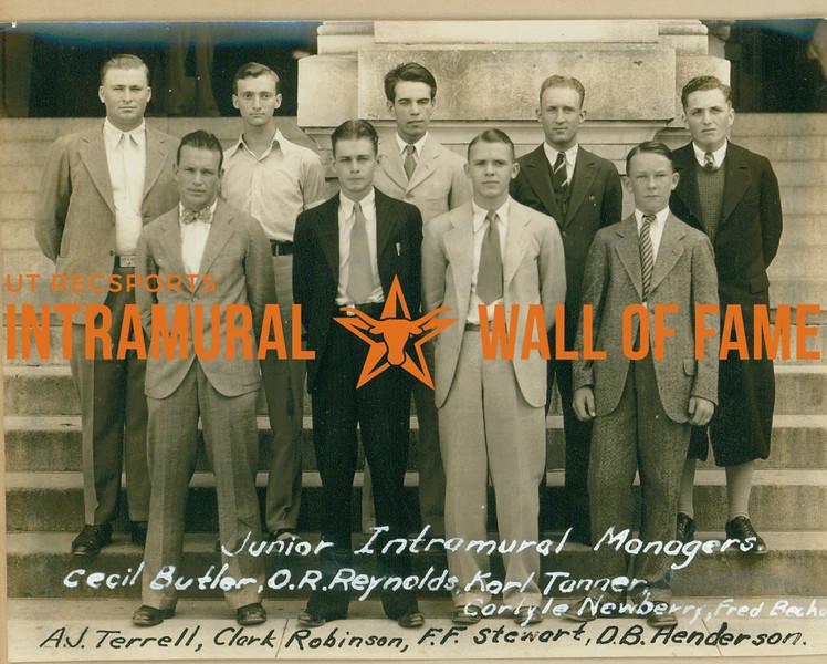 JUNIOR INTRAMURAL MANAGER  R1: Cecil Butler, O. r. Reynolds, Karl Tanner, Carlyle Newberry, Fred Becke R2: A. J. Terrell, Clark Robinson, F. F. Stewart, D. B. Henderson