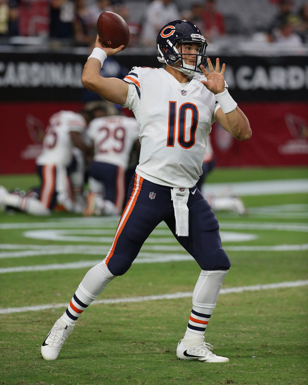 . Chicago Bears quarterback Mitchell Trubisky (10) warms up prior to a preseason NFL football game against the Arizona Cardinals, Saturday, Aug. 19, 2017, in Glendale, Ariz. (AP Photo/Ralph Freso)