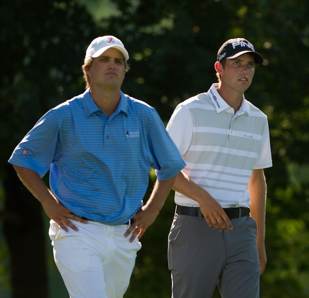 Bobby Wyatt(L) and Chris Williams walk up the 16th fairway during second round medal play at the 2012 Western Amateur Championship at Exmoor Country Club in Highland Park IL. on Wednesday, August 1, 2012. (WGA Photo/Charles Cherney)