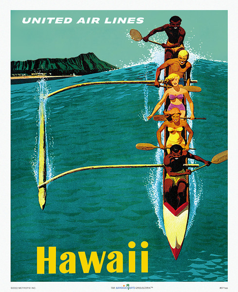 071: Vintage United Airlines Waikiki Poster: 'Hawaii,' from ca. 1950. Showing a happy crew of 'haole' tourists and native beach boys steering an outrigger canoe through Waikiki surf with Diamond Head on the horizon. This vintage poster has become one of the most famous and sought-after pieces of vintage Hawaiian memorabilia. Expertly restored to its original luster as originals have become faded and tainted with scuff marks, creases, and tears...