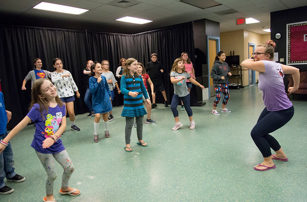 09/09/19 Wesley Bunnell | StaffrrBoys and girls are led in their auditions by an instructor, R, for the No Boundaries Youth Theater's production of Disneys Frozen JR on Monday evening at the Kensington branch of the YMCA.