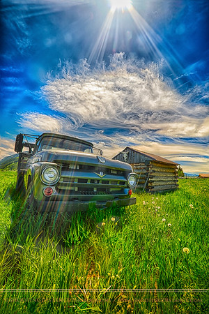 1956 Ford on the high plains, Wyoming