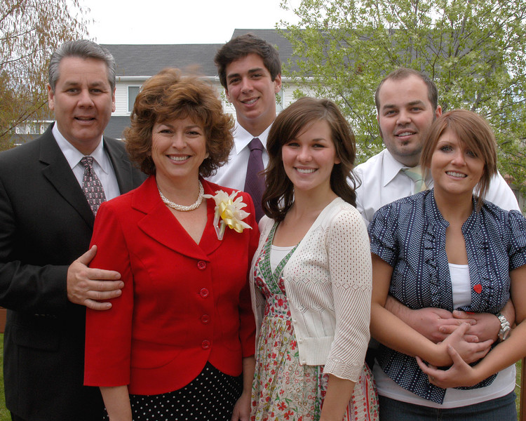4/8/07 – It was Easter Sunday. After church we posed for a family photo at home. We don't always have everyone together and all dressed up so it was a great opportunity for a photo.