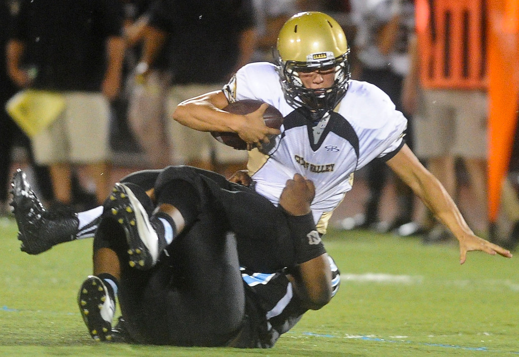 . Citrus Valley football faces San Gorgonio High School in San Gorgonio\'s home season opener in San Bernardino on Friday, Aug. 30, 2013. (Rachel Luna / Staff Photographer)