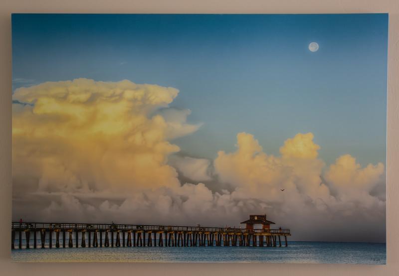 Pier end super moon set canvas wrap