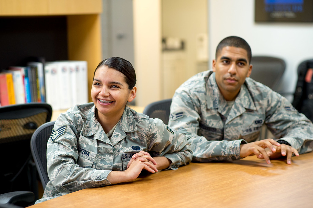 . Staff Sgt. Anahi Ledezma, left, reacts to teammate Airman First Class Brenden Sylvester during their weekly verbal quiz at March Air Reserve Base in Riverside, Calif. on Wednesday, May 13, 2015. (Photo by Watchara Phomicinda/ Los Angeles Daily News)