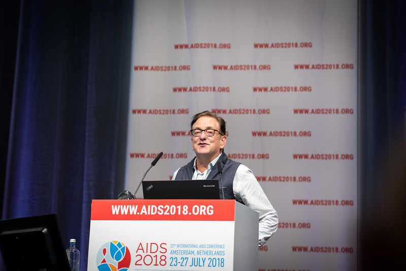 22nd International AIDS Conference (AIDS 2018) Amsterdam, Netherlands.   Copyright: Steve Forrest/Workers' Photos/ IAS  Photo shows: Kevin Osborne the new Executive Director, IAS Executive Director, speaking during the IAS Members' Meeting.