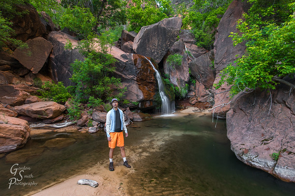 Gordon Smith at a waterfall in Zion Backcountry