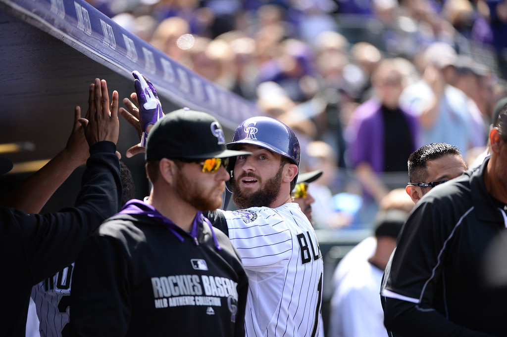 . Charlie Blackmon (19) scored a run during the first inning.  (Photo by Hyoung Chang/The Denver Post)