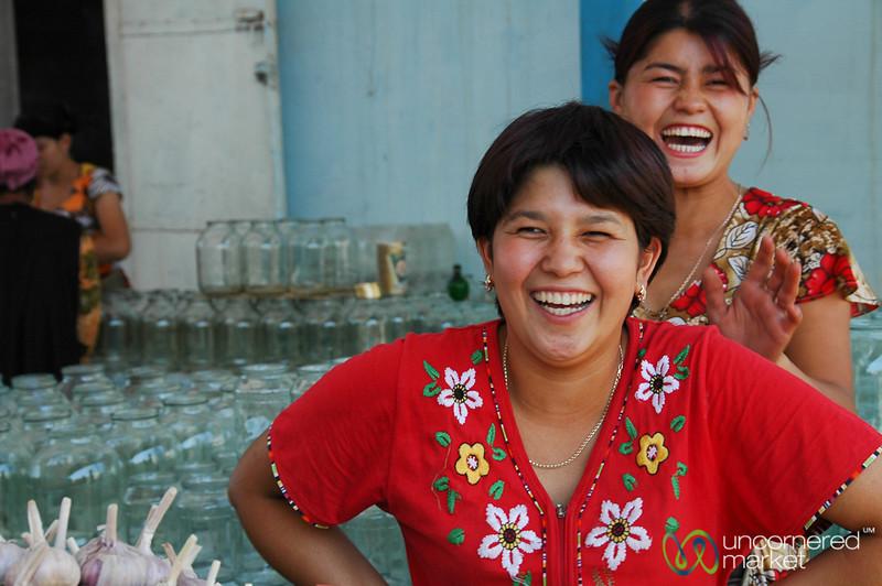 Laughing Women at Market - Nukus, Uzbekistan