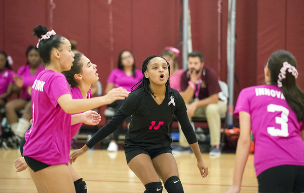 Wesley Bunnell | Staff Innovation's Kenia Hernandez and teammates celebrate a point.