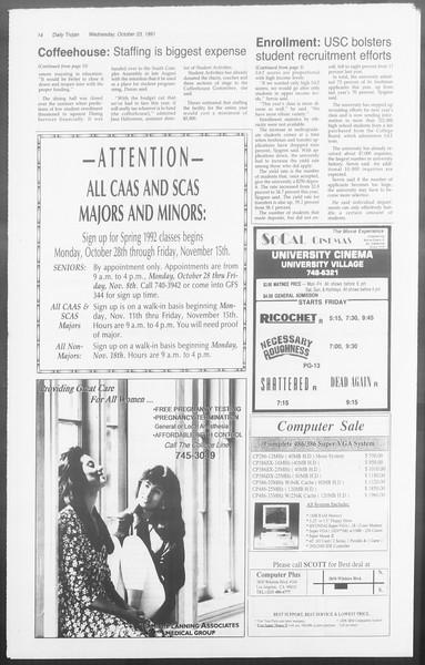 Daily Trojan, Vol. 116, No. 37, October 23, 1991