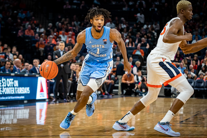 NCAA Basketball 2019:  UNC Tar Heels vs. Virginia Cavaliers.  December 8, 2019.