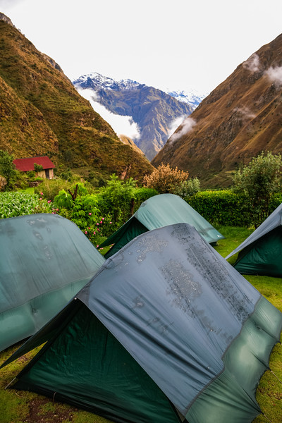 View of mountains in front of tents - Peru