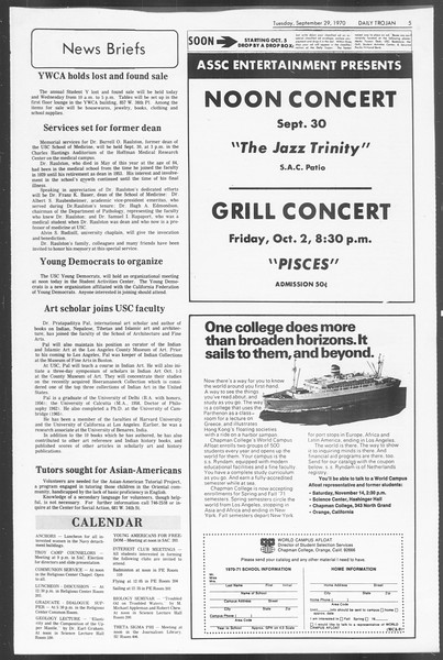 Daily Trojan, Vol. 62, No. 6, September 29, 1970