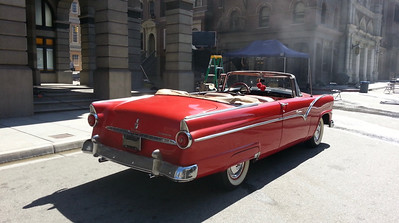 55 Ford Convertible red