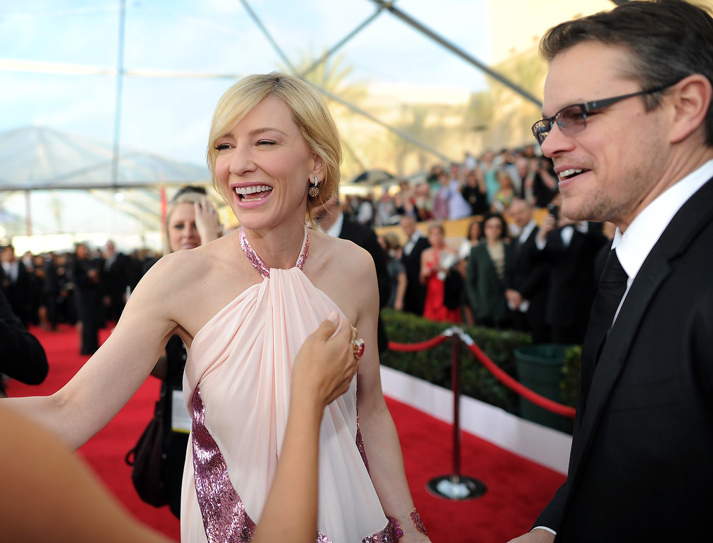 . Cate Blanchett and Actor Matt Damon on the red carpet at the 20th Annual Screen Actors Guild Awards  at the Shrine Auditorium in Los Angeles, California on Saturday January 18, 2014 (Photo by Hans Gutknecht / Los Angeles Daily News)