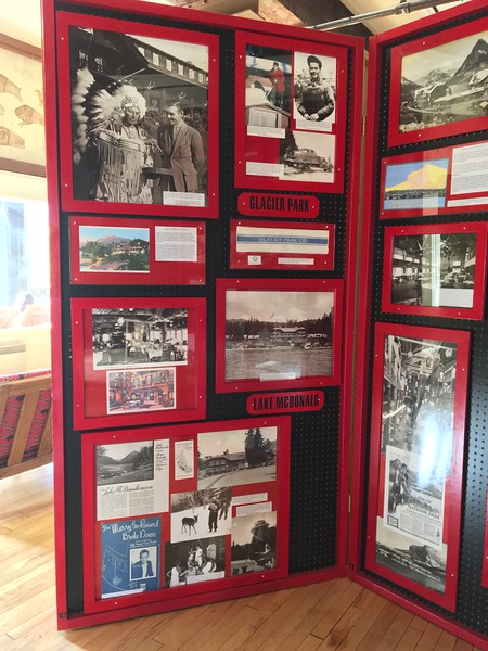 Display panels showing the history of the Lake McDonald area.