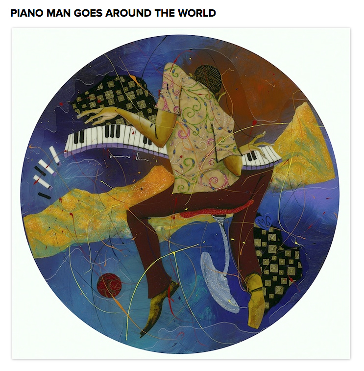 . Marcus Glenn Piano Man Goes Around the World Music Series 2013 23 7/8\'\' (Diameter) Mixed media painting with collage on wood panel. Photo: Park West Gallery