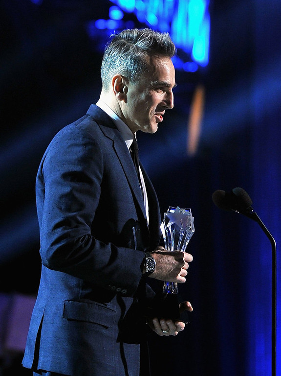 . Actor Daniel Day-Lewis accepts the award for Best Actor  onstage at the 18th Annual Critics\' Choice Movie Awards held at Barker Hangar on January 10, 2013 in Santa Monica, California.  (Photo by Larry Busacca/Getty Images for BFCA)