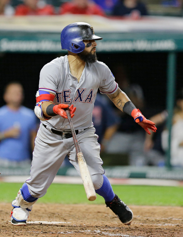 . Texas Rangers\' Rougned Odor hits an RBI-single off Cleveland Indians relief pitcher Cody Allen in the ninth inning of a baseball game, Wednesday, June 28, 2017, in Cleveland. Jonathan Lucroy scored on the play. (AP Photo/Tony Dejak)