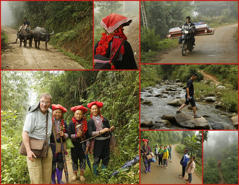 Trekking in the mountains with Red Dao women