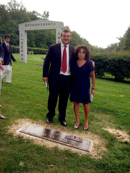 Joan Walsey and Rabbi - Elliot Walsey gravestone unveiling and luncheon