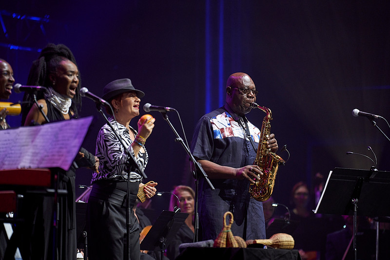 Manu Dibango grand show in Grand Rex hall, Paris celebrating his 60 years of carrer. Concert given with Manu Dibango band together with the symphonic Lamoureux orchestra directed by  Martin Fondse.