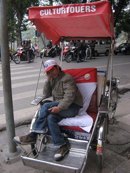 Caught napping in Hanoi.