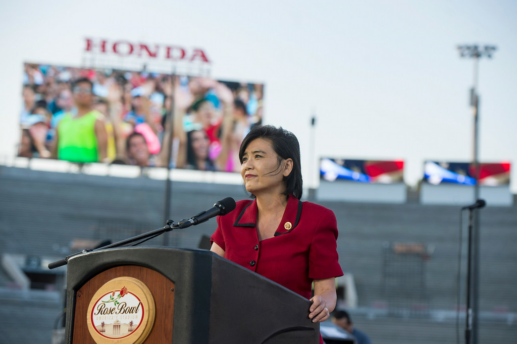 . Congresswoman Judy Chu speaks during the 88th Annual Fourth of July Celebration, Americafest at the Rose Bowl in Pasadena Friday night, July 4, 2014. (Photo by Sarah Reingewirtz/Pasadena Star-News)