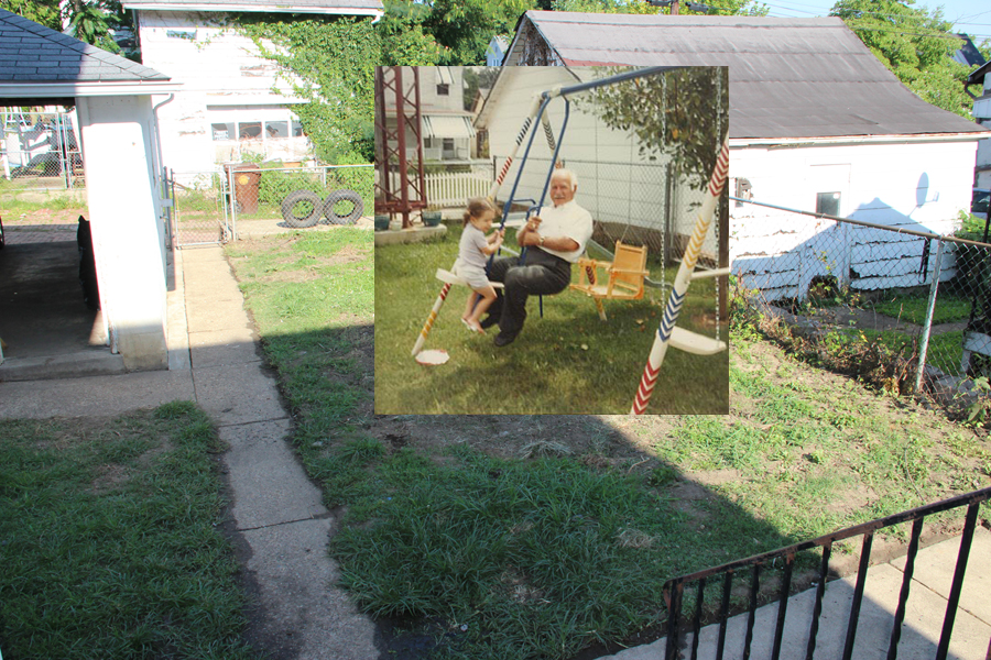 Back yard (2015), overlaid with me and Grandpa on the swingset in 1985