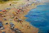 """Seascape"" by Inam, 34""x48"" oil painting on loose canvas"